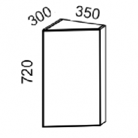 Шкаф навесной конечный 30гр (Дуб белёный с патиной золото)