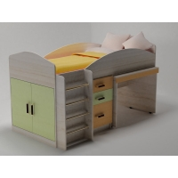Кровать чердак с рабочей зоной Алиса цветная