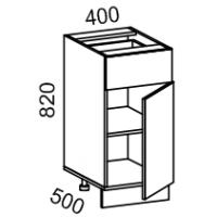 Тумба рабочая 400 с 1 выдвижным ящиком (ясень шимо темный)