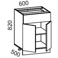 Тумба рабочая 600 с 1 выдвижным ящиком (ясень шимо темный)