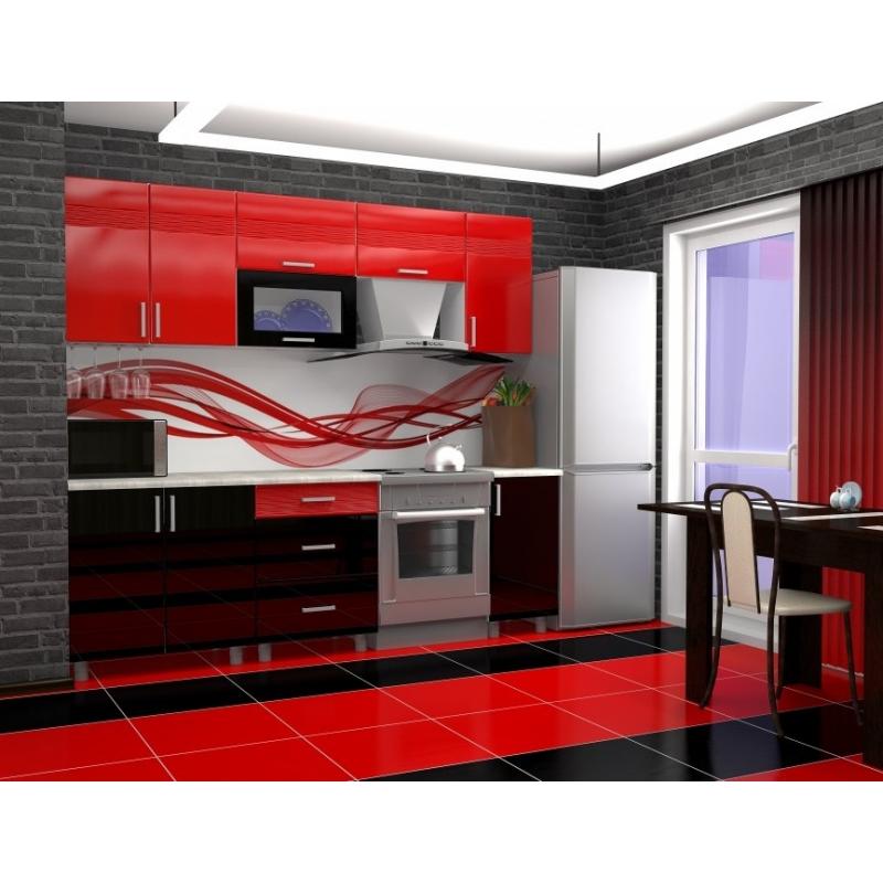 Кухонный гарнитур Золушка 1,8м / МДФ / красный-черный-Дюна