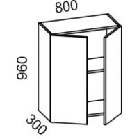 Шкаф навесной 800 высота 960 (Бланко Синяя)