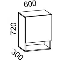 Шкаф навесной 600 с нишей Дуб Сонома