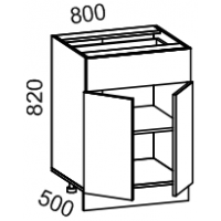 Тумба рабочая 800 с 1 выдвижным ящиком (ясень шимо темный)