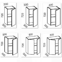 Шкаф навесной 200/300/400/500/600/800 (Красный глянец)