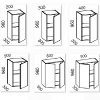Шкаф навесной 300/400/500/600/800 высота 960 (Кофе)