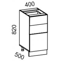 Тумба рабочая 400 с 3 ящиками (Жемчуг глянец)