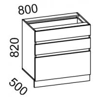 Тумба рабочая 800 с 3 ящиками