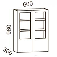 Шкаф-витрина 600 высота 960 (Бланко Синяя)