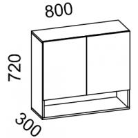 Шкаф навесной 800 с нишей (ясень шимо тем+ясень шимо св)