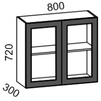 Шкаф витрина 800 (латте глянец)