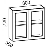 Шкаф-витрина навесной 800 со стеклом (Страйп черный/белый)