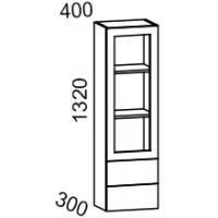 Шкаф-витрина настольная 400*1320 (Дуб белёный с патиной золото)