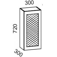 Шкаф навесной 300 с перфорацией (Дуб белёный с патиной золото)