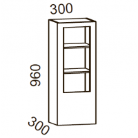 Шкаф-витрина 300 высота 960 (Бланко Белая)