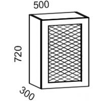Шкаф навесной 500 с перфорацией (Дуб белёный с патиной золото)