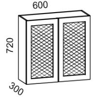 Шкаф навесной 600 с перфорацией (Дуб белёный с патиной золото)