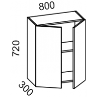 Шкаф навесной 800 (Дуб белёный с патиной золото)