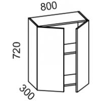 Шкаф навесной 800 высота 720 (Бланко Синяя)