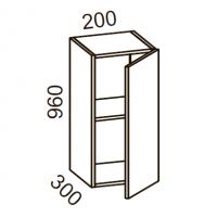 Шкаф навесной 200 высота 960 (Бланко Синяя)