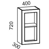 Шкаф-витрина навесной 400 со стеклом (Страйп черный/белый)