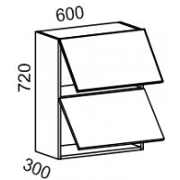 Шкаф навесной 2х ярусный 600 (Страйп черный/белый)
