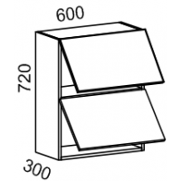 Шкаф навесной 2х ярусный 600 (Дуб белёный с патиной золото)