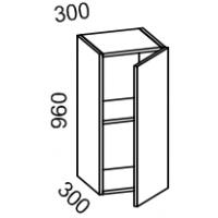 Шкаф навесной 300 высота 960 (Бланко Синяя)