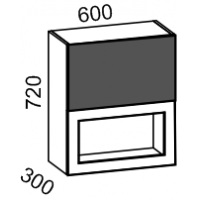 Шкаф витрина 600 2-х ярусный (латте глянец+ваниль)
