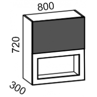 Шкаф витрина 800 2-х ярусный (латте глянец+ваниль)