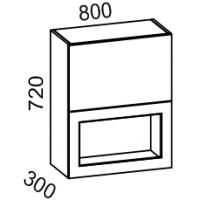 Шкаф-витрина навесной 2х ярусный 800 (Красный глянец)