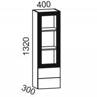 Шкаф-витрина настольная 1320 (Шоколад матовый + Жемчуг глянец)