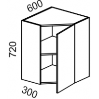 Шкаф навесной угловой 600х600 (Арт-Шоколад)