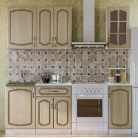 Кухонный гарнитур Дуб белёный с патиной золото 1.5 м.
