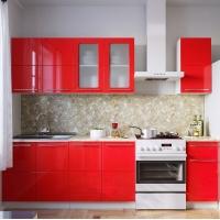 Кухонный гарнитур Красный глянец 2м