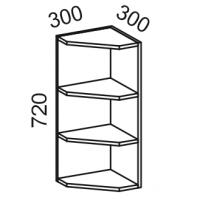 Шкаф навесной угловой открытый 300 (Дуб белёный с патиной золото)
