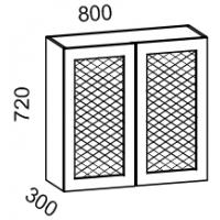 Шкаф навесной 800 с перфорацией (Дуб белёный с патиной золото)