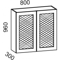 Шкаф навесной 800 с перфорацией высота 960 (Бирюза)