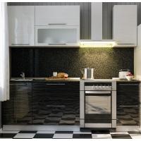 Описание кухни Страйп черный/белый  МДФ